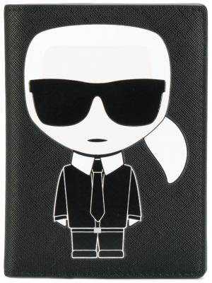 Обложка для паспорта Ikonik Karl Lagerfeld. Цвет: чёрный