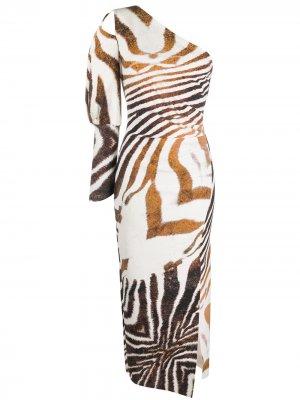 Платье с на одно плечо анималистичным принтом Le Petite Robe Di Chiara Boni. Цвет: белый
