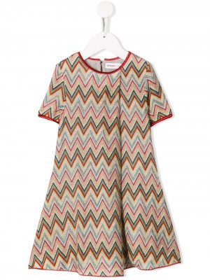 Трикотажное платье с узором зигзаг Missoni Kids. Цвет: красный