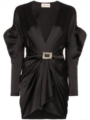 Платье мини со объемными плечами и глубоким вырезом Alexandre Vauthier. Цвет: черный
