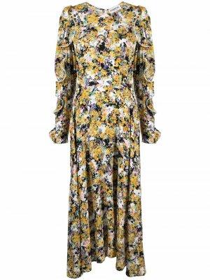 Платье миди с оборками и цветочным принтом Essentiel Antwerp. Цвет: белый