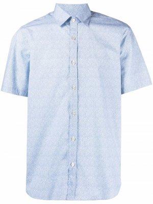 Рубашка на пуговицах с короткими рукавами Canali. Цвет: синий