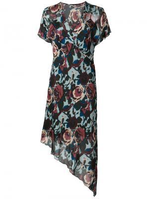 Асимметричное платье с цветочным принтом Anna Sui. Цвет: синий