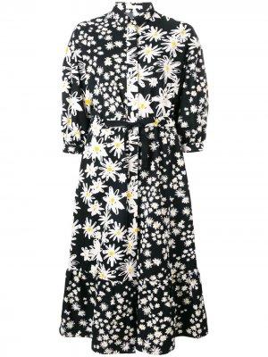 Платье-рубашка с цветочным принтом Chinti and Parker. Цвет: черный