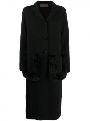 Пальто с искусственным мехом D.Exterior. Цвет: черный