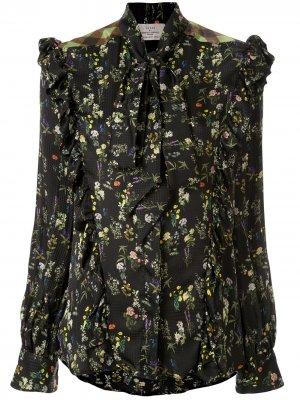 Блузка с завязками и оборками Preen By Thornton Bregazzi. Цвет: черный