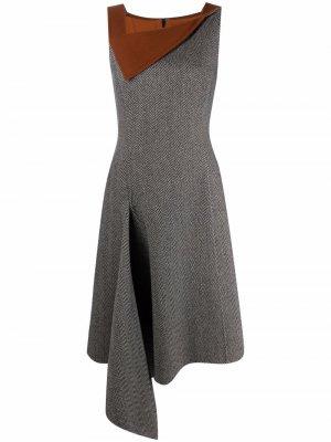 Платье асимметричного кроя с узором в елочку Oscar de la Renta. Цвет: черный