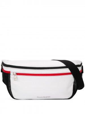 Объемная поясная сумка с двойной молнией Alexander McQueen. Цвет: белый