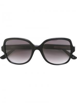 Большие солнцезащитные очки Bottega Veneta Eyewear. Цвет: черный