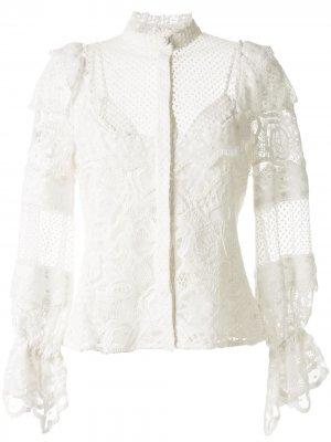 Блузка с оборками и кружевными вставками Alexis. Цвет: белый