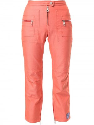 Укороченные брюки Sports Line на молнии Chanel Pre-Owned. Цвет: оранжевый