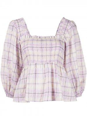 Клетчатая блузка из сирсакера GANNI. Цвет: фиолетовый