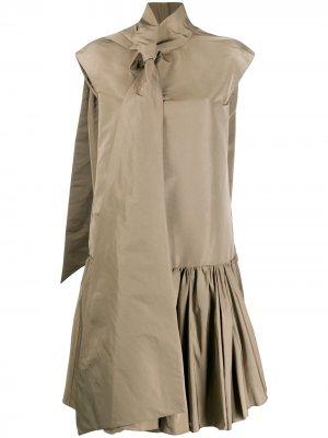 Платье-рубашка с завязками Rochas. Цвет: коричневый