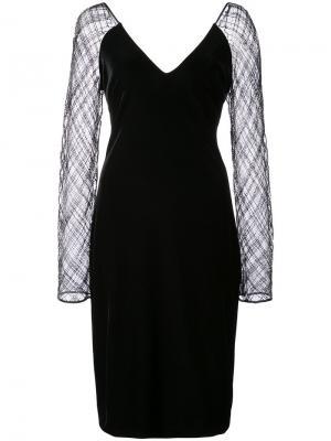 Платье с прозрачными рукавами Badgley Mischka. Цвет: чёрный