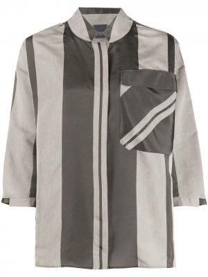 Полосатая рубашка с карманом Lorena Antoniazzi. Цвет: серый