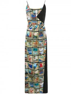 Платье макси с принтом Ultràchic. Цвет: черный