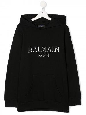 Худи с логотипом Balmain Kids. Цвет: черный