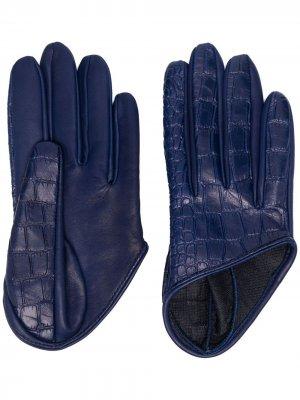 Перчатки Mano с тиснением под крокодила Manokhi. Цвет: синий