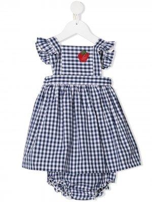 Клетчатый комплект из платья, блумеров и панамы SONIA RYKIEL ENFANT. Цвет: синий