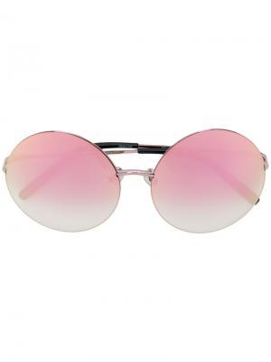 Солнцезащитные очки в круглой оправе Matthew Williamson. Цвет: розовый