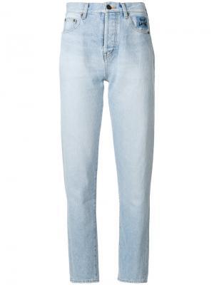 Зауженные джинсы с завышенной талией Saint Laurent. Цвет: синий