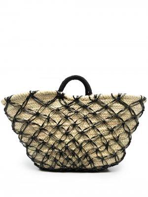 Плетеная сумка-тоут catarzi. Цвет: нейтральные цвета