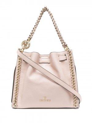 Большая сумка на плечо Mina из зернистой кожи Michael Kors. Цвет: розовый