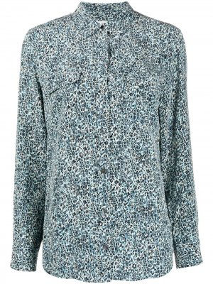 Рубашка с абстрактным принтом и длинными рукавами Equipment. Цвет: синий