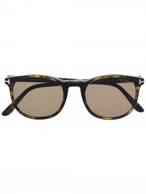 Солнцезащитные очки Ansel в круглой оправе TOM FORD Eyewear. Цвет: коричневый