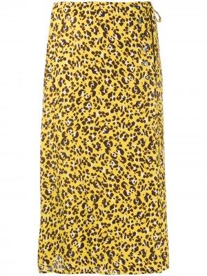 Юбка с леопардовым принтом и завязками сбоку Seventy. Цвет: желтый