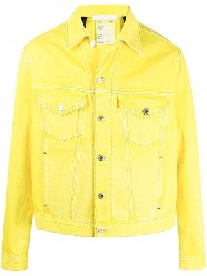 Джинсовая куртка на пуговицах Helmut Lang. Цвет: желтый
