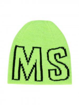 Шапка бини с логотипом Msgm Kids. Цвет: зеленый