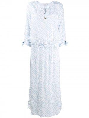 Платье с анималистичным принтом и завязками Heidi Klein. Цвет: синий
