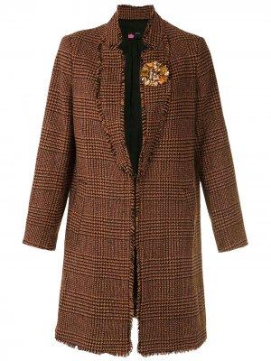 Твидовое пальто с укороченными рукавами Eva. Цвет: оранжевый