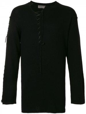 Джемпер со шнуровкой Yohji Yamamoto. Цвет: черный