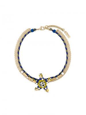 Короткое колье с подвеской-звездой Radà. Цвет: синий