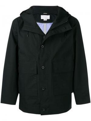 Куртка на пуговицах с капюшоном Nanamica. Цвет: черный