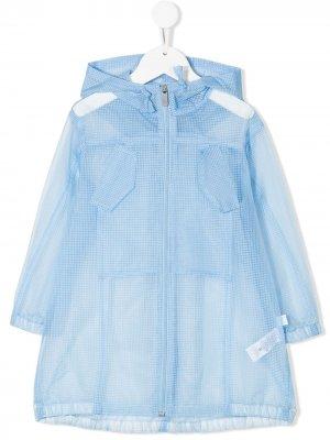 Клетчатое пальто с капюшоном Il Gufo. Цвет: синий