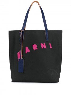 Сумка-тоут с логотипом Marni. Цвет: черный