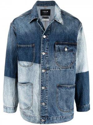 Двухцветная джинсовая куртка FIVE CM. Цвет: синий