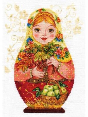 Набор для вышивания Матрешки. Осенняя краса 19х26 см  Алиса. Цвет: желтый, красный, оранжевый, рыжий, темно-коричневый