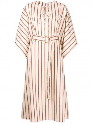 Полосатое платье с драпировкой Jason Wu. Цвет: белый