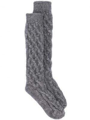 Длинные носки фактурной вязки Dolce & Gabbana. Цвет: серый