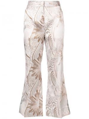 Жаккардовые брюки клеш Josie Natori. Цвет: белый
