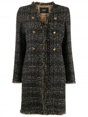 Твидовое пальто с бахромой Seventy. Цвет: коричневый