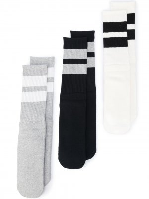 Комплект из трех пар носков в полоску Neighborhood. Цвет: белый