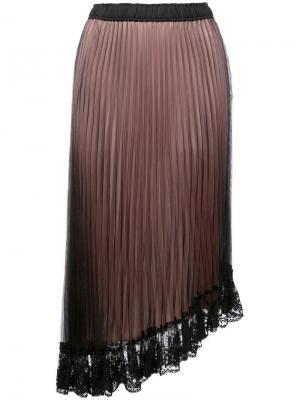 Плиссированная юбка с асимметричным кружевным краем Clu. Цвет: черный
