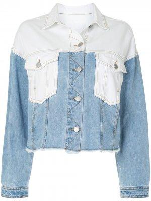 Укороченная джинсовая куртка в технике пэчворк PortsPURE. Цвет: синий