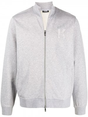 Спортивная куртка с вышивкой Karl Lagerfeld. Цвет: серый