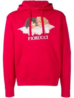Толстовка с капюшоном и нашивкой-логотипом Fiorucci. Цвет: красный
